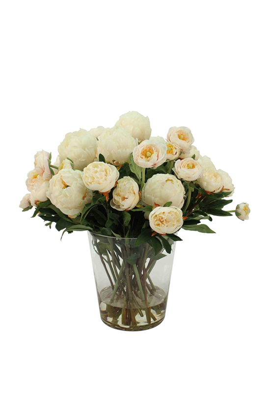 Cream-white mix of peonies and ranunculus