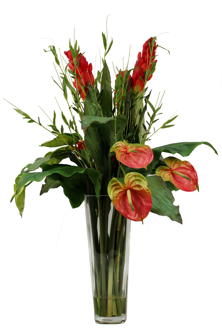 Ginger flower, Anthuriums with Calla Lvs and Bamboo greenery