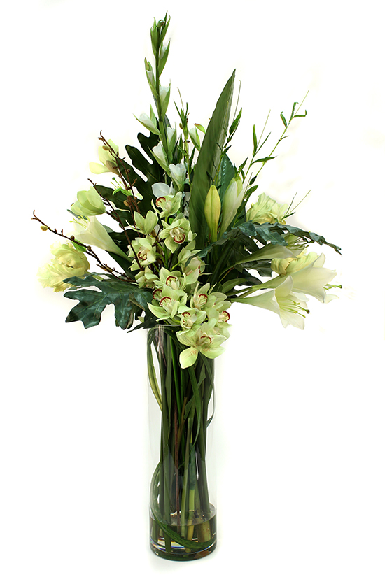 Tall Gladioli, Cymbidium Orchids, Easter Lily, Parrot tulip with greenery
