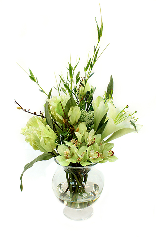 Limegreen Cymbidium Orchid, trumpet lilies, frilled tulips and greenery.