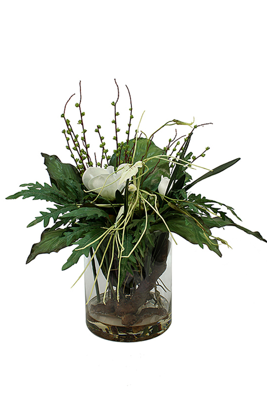 Tropical mix of gardenia, spider orchid and greenery