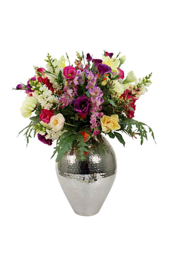 Large mix of snapdragon, lisianthus and elegant schefflera in silver ceramic