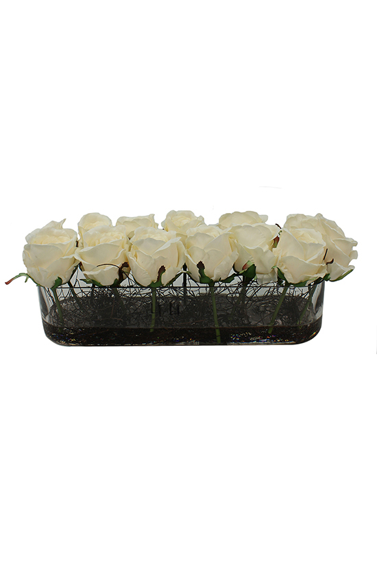 Cropped cream roses in rectangular vase