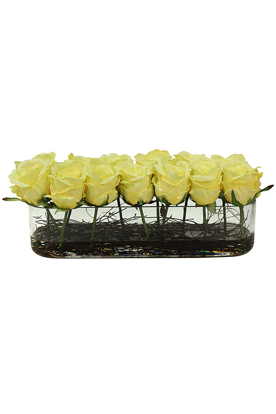 Cropped pastel yellow roses in rectangular vase