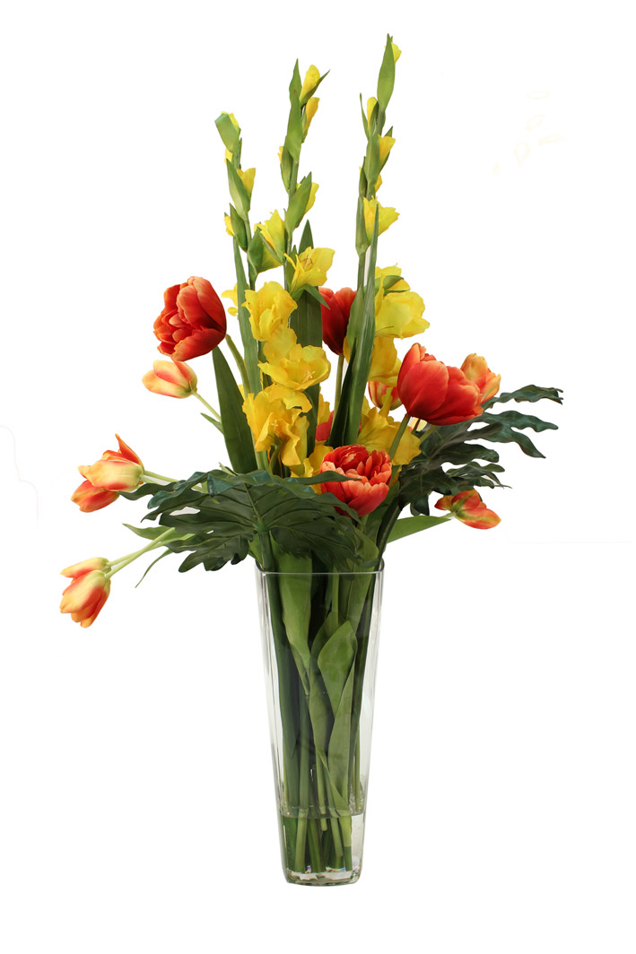 Tall yellow gladioli, and orange open tulips with greenery