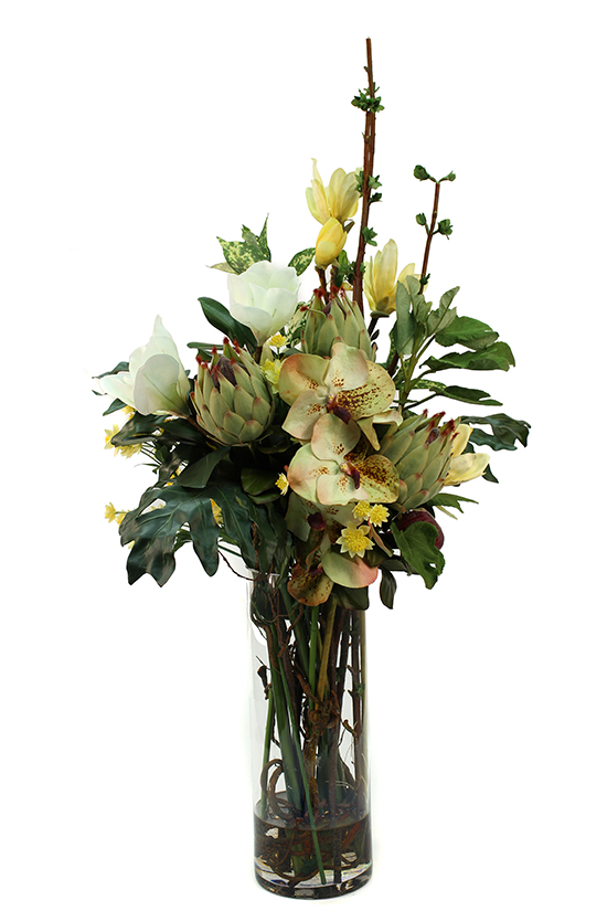 Protea buds,Magnolia Spray, greenery with sprigs, Vanda Orchid