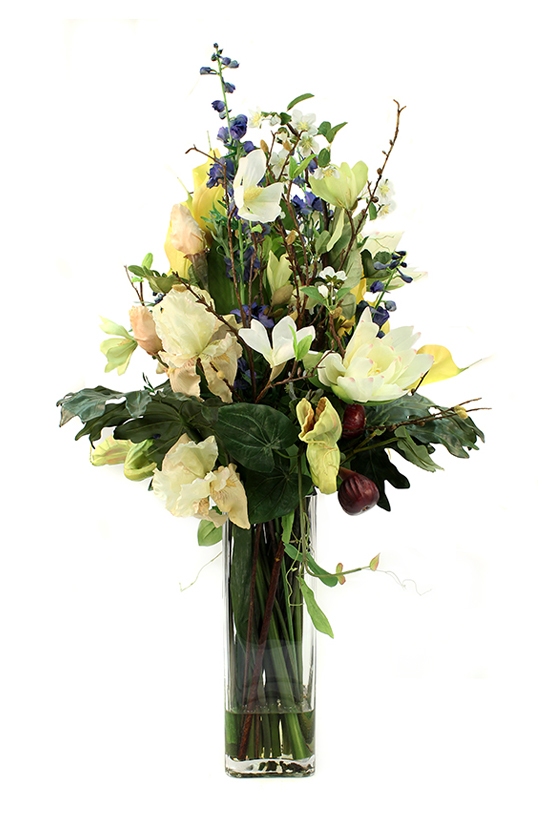 Magnolia Spray, cream bearded Iris, Anthurium lilies, Pitcher Plant, Larkspur Blue, greenery & figs (or simply just spots of blue and burgendy)