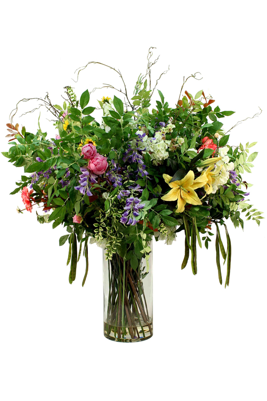 Greenery supported by Wisteria, Tiger Lily Yellow, Camelia Spray Pink,Greenery - Fern, large Leaves, Birch Spray, White Bougainvillea
