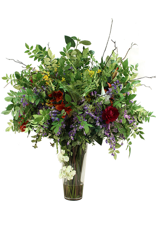 Greenery supported by Wisteria, parrot tulip orange/burgundy,easter lily,- Fern, large Leaves, Willow Twig