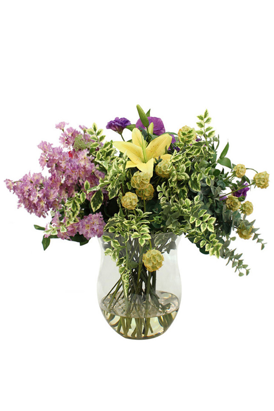 Lovely bunch of varigated Greenery, Lilac spray, Yellow Tiger Lily, Purple Lisianthus,Eucaluptus