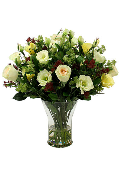 Mix of roses and lisianthus in soft yellow and cream shades
