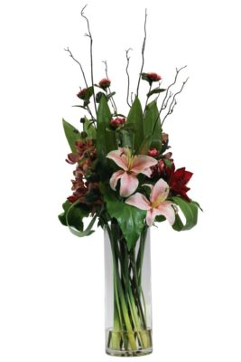 Lilies, Vanda orchids and amaryllis beauty, pink camellia spray with sprigs and greenery