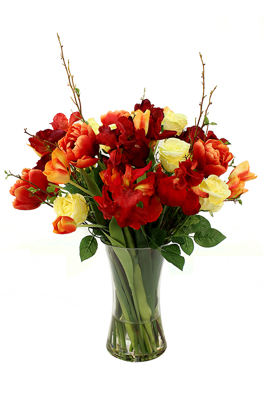 Silk blooms never looked this catchy, a bright mix of open tulips and roses in red and yellow