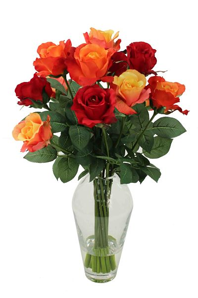 Mix of opened silk roses in dark red and yellow shaded orange