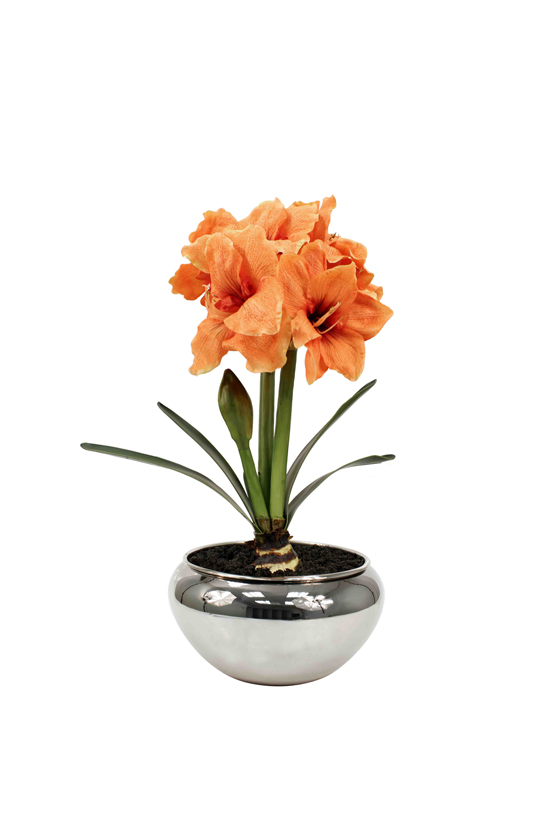Potted artificial flower plant, double Amaryllis in Salmon colour