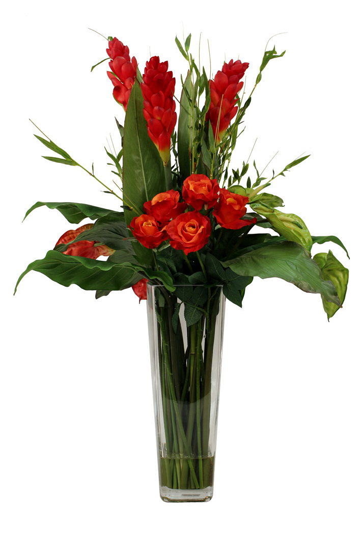 Bright red ginger flower, Anthuriums with Calla Lvs and Bamboo greenery