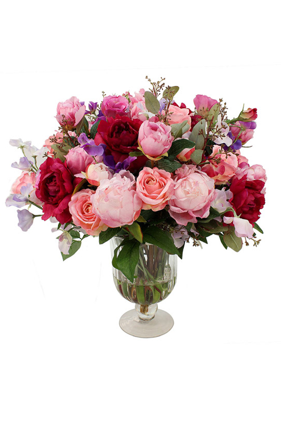 Classic mix of burgundy roses and pink peony in pedastal vase