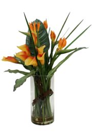 Birds of paradise and calla lilies in orange with greenery