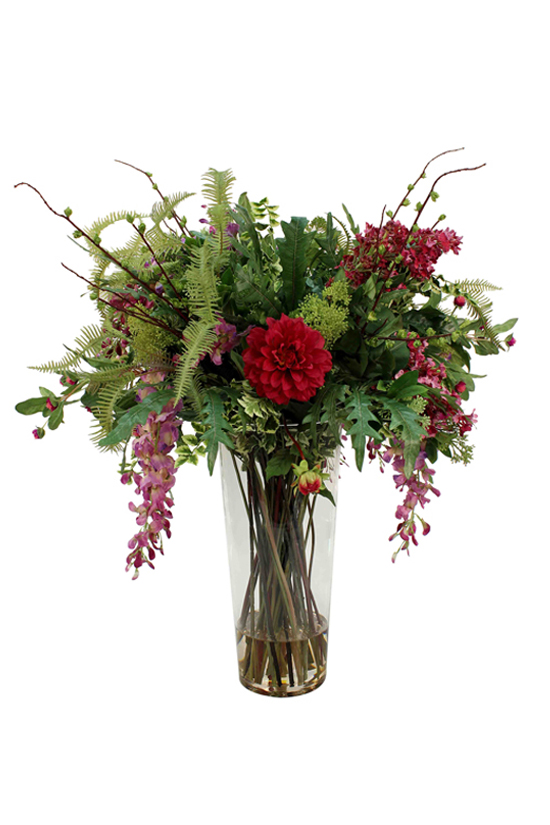 Greenery supported by Wisteria, Dahlia, Lilac Spray. Greenery - Fern, large Leaves, Birch Spray