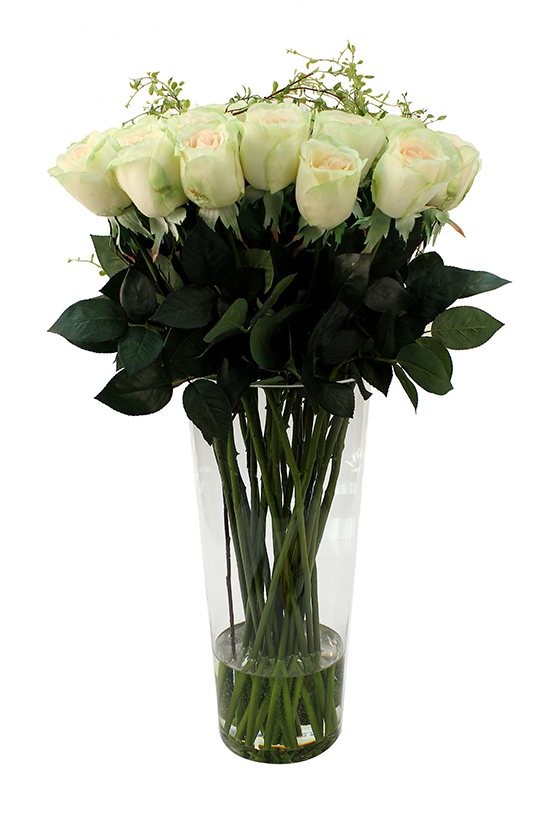 Lime-white roses with angel vine