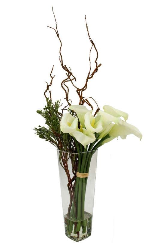 Calla lilies with sprigs, Willow Twig and greenery